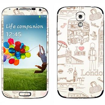 Виниловая наклейка «Узор Лондон» на телефон Samsung Galaxy S4