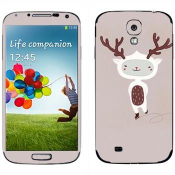 Виниловая наклейка «Веселый олененок на коньках» на телефон Samsung Galaxy S4