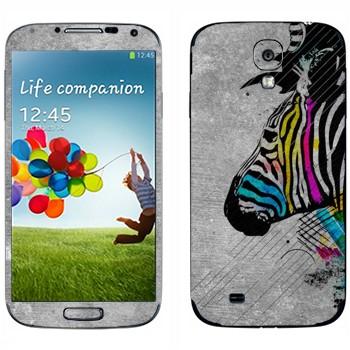 Виниловая наклейка «Зебра с разноцветными полосами» на телефон Samsung Galaxy S4