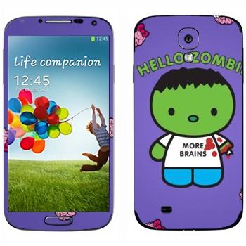 Виниловая наклейка «Зеленый зомби в майке» на телефон Samsung Galaxy S4