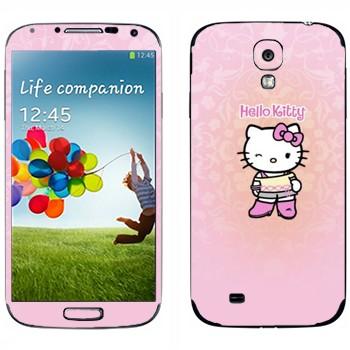 Виниловая наклейка «Hello Kitty подмигивает» на телефон Samsung Galaxy S4