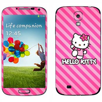 Виниловая наклейка «Hello Kitty розовые полоски» на телефон Samsung Galaxy S4