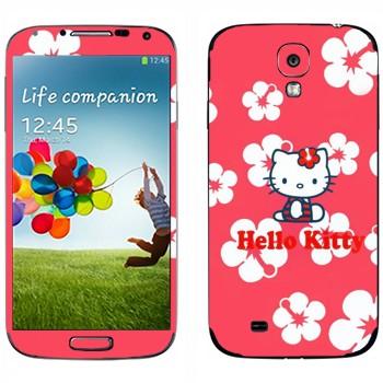 Виниловая наклейка «Hello Kitty в цветах» на телефон Samsung Galaxy S4