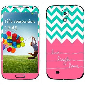 Виниловая наклейка «Live Laugh Love» на телефон Samsung Galaxy S4