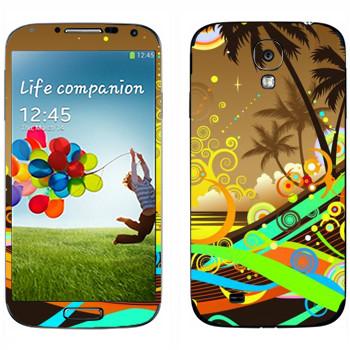 Виниловая наклейка «Абстрактный закат на пляже» на телефон Samsung Galaxy S4