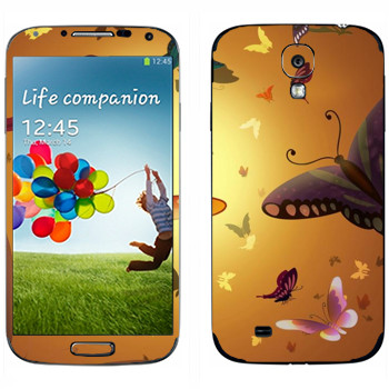 Виниловая наклейка «Бабочки на фоне солнца» на телефон Samsung Galaxy S4