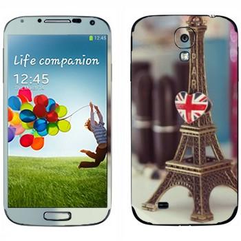 Виниловая наклейка «Брелок Эйфелева башня с сердечком» на телефон Samsung Galaxy S4