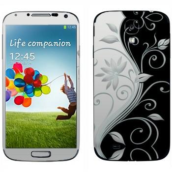 Виниловая наклейка «Черно-белые цветы» на телефон Samsung Galaxy S4