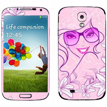 Виниловая наклейка «Гламурная девушка в очках» на телефон Samsung Galaxy S4