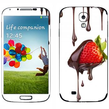 Виниловая наклейка «Клубника в шоколаде» на телефон Samsung Galaxy S4