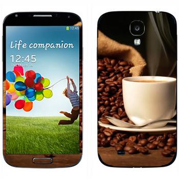 Виниловая наклейка «Кофе не молотый» на телефон Samsung Galaxy S4