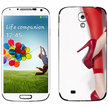 Виниловая наклейка «Красные туфли и колготки» на телефон Samsung Galaxy S4