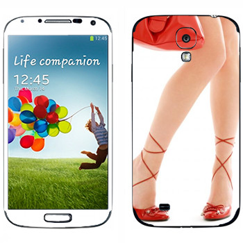 Виниловая наклейка «Красные туфли и красная сумочка» на телефон Samsung Galaxy S4