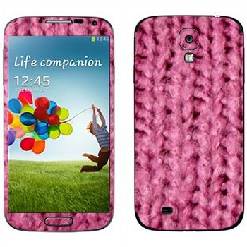 Виниловая наклейка «Крупная розовая вязка» на телефон Samsung Galaxy S4
