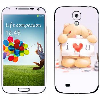 Виниловая наклейка «Медвежонок Тедди - I love You» на телефон Samsung Galaxy S4