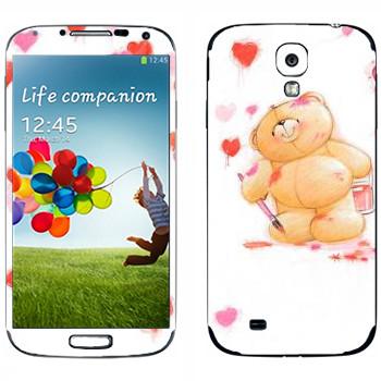 Виниловая наклейка «Медвежонок Тедди рисует сердечки» на телефон Samsung Galaxy S4