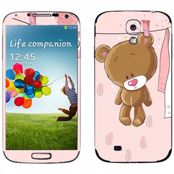Виниловая наклейка «Мишка сушится» на телефон Samsung Galaxy S4