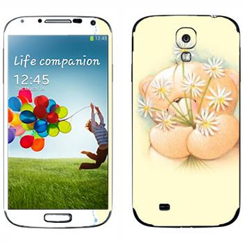Виниловая наклейка «Мишка Тедди и ромашки» на телефон Samsung Galaxy S4