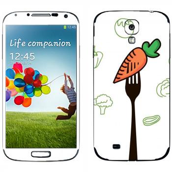 Виниловая наклейка «Морковка на вилке» на телефон Samsung Galaxy S4