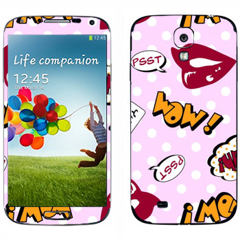 Виниловая наклейка «Накрашенные губы - WOW!» на телефон Samsung Galaxy S4