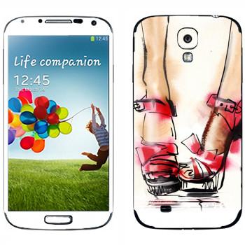 Виниловая наклейка «Нарисованные красные туфли» на телефон Samsung Galaxy S4