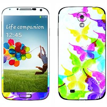 Виниловая наклейка «Разноцветные бабочки» на телефон Samsung Galaxy S4
