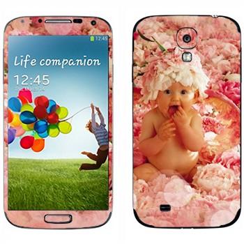 Виниловая наклейка «Ребенок в цветах» на телефон Samsung Galaxy S4