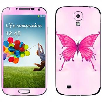 Виниловая наклейка «Розовая бабочка» на телефон Samsung Galaxy S4