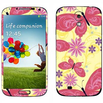 Виниловая наклейка «Розовые бабочки и цветы» на телефон Samsung Galaxy S4