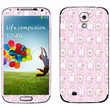 Виниловая наклейка «Розовые зайчики» на телефон Samsung Galaxy S4