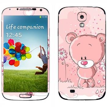 Виниловая наклейка «Розовый мишка и цветы» на телефон Samsung Galaxy S4