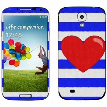 Виниловая наклейка «Сердце на тельняшке» на телефон Samsung Galaxy S4