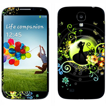Виниловая наклейка «Силуэт девушки» на телефон Samsung Galaxy S4