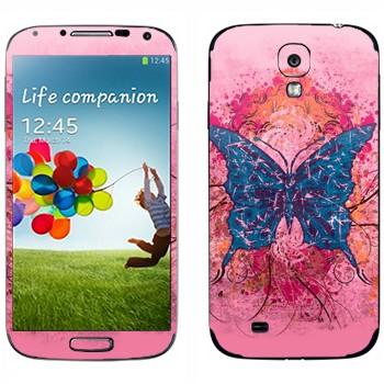 Виниловая наклейка «Синяя бабочка» на телефон Samsung Galaxy S4