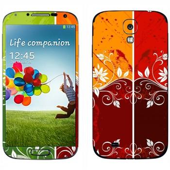 Виниловая наклейка «Цветная хохлома для девушек» на телефон Samsung Galaxy S4