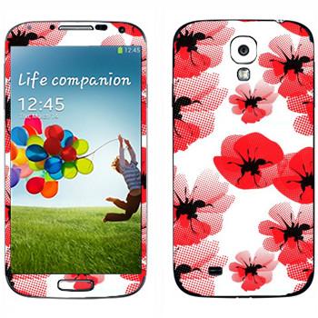 Виниловая наклейка «Цветы маки» на телефон Samsung Galaxy S4