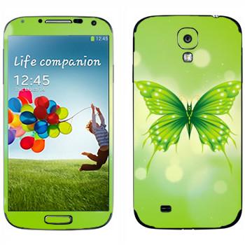Виниловая наклейка «Зеленая бабочка» на телефон Samsung Galaxy S4
