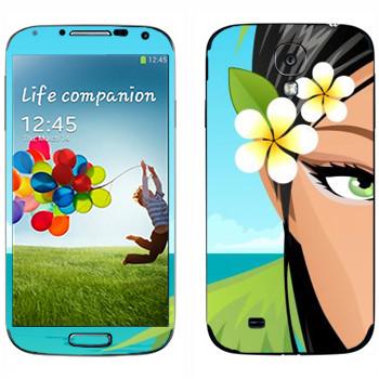 Виниловая наклейка «Зеленоглазая девушка на пляже» на телефон Samsung Galaxy S4