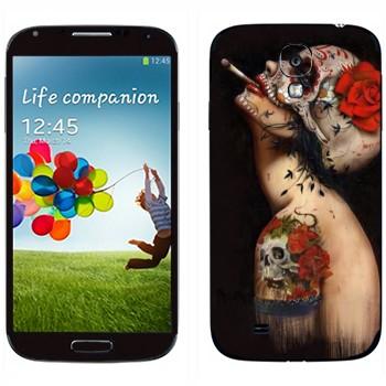 Виниловая наклейка «Бодиарт Череп с цветком» на телефон Samsung Galaxy S4