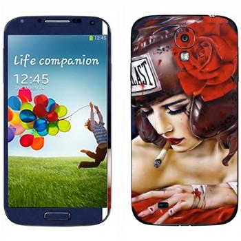 Виниловая наклейка «Девушка в защитном шлеме Evillast» на телефон Samsung Galaxy S4