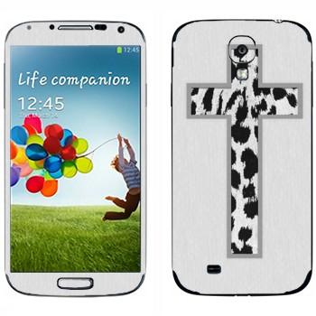 Виниловая наклейка «Крест из белой шкуры леопарда на белом» на телефон Samsung Galaxy S4