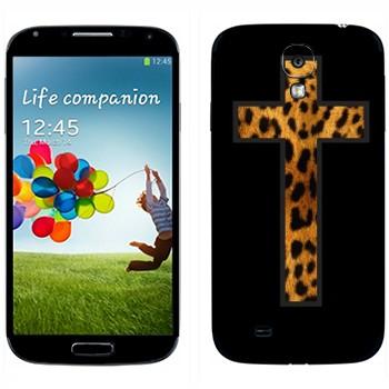 Виниловая наклейка «Крест из шкуры гепарда» на телефон Samsung Galaxy S4