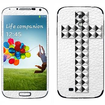 Виниловая наклейка «Крест серебряными заклепками на белом» на телефон Samsung Galaxy S4