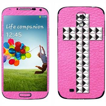 Виниловая наклейка «Крест серебряными заклепками на розовом» на телефон Samsung Galaxy S4