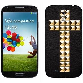 Виниловая наклейка «Крест золотыми заклепками» на телефон Samsung Galaxy S4