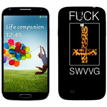 Виниловая наклейка «Надпись Fuск SWAG» на телефон Samsung Galaxy S4