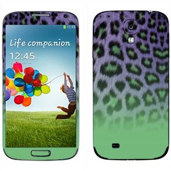 Виниловая наклейка «Шкура гепарда зелено-феолетовая» на телефон Samsung Galaxy S4
