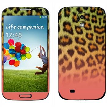 Виниловая наклейка «Шкура леопарда зелено-розовая» на телефон Samsung Galaxy S4