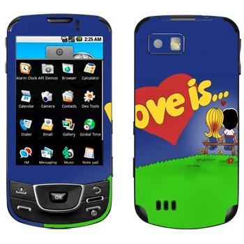 Виниловая наклейка «Love is... - День Святого Валентина» на телефон Samsung Galaxy