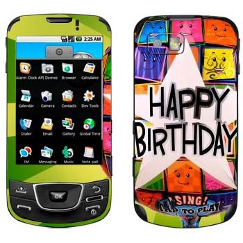 Виниловая наклейка «Большая звезда Happy birthday» на телефон Samsung Galaxy